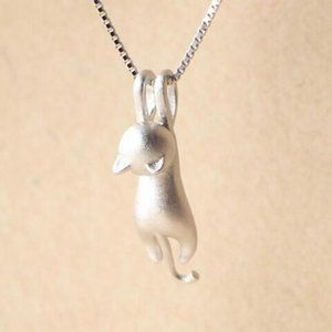 NEW 925 Sterling Silver Cute Cat Necklace